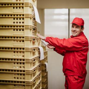 Řidič Luboš kontroluje dodací listy, než pečivo rozveze zákazníkům.